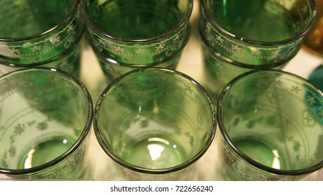 The Glass for candles with green.