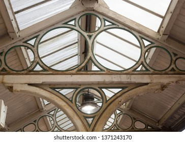 The glass canopies at Knaresborough Railway Station, North Yorkshire, England