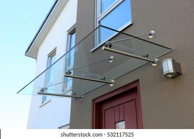 Glass canopy front door