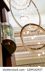 glass capsule elevator in the hall at luxury hotel or building