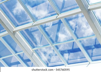 glass ceiling with window. Square shot, vintage. closeup. The shopping center, business center,