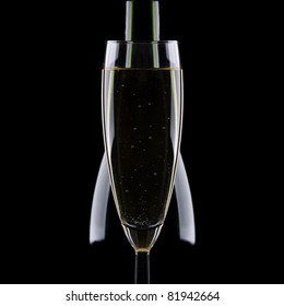 Glass with champagne on a black background