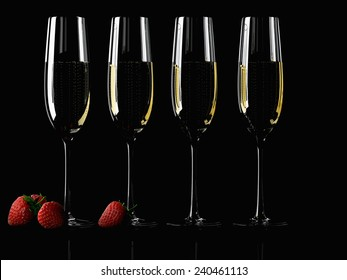 A Glass of champagne with strawberry on colorful background