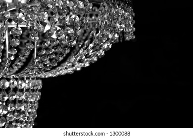 Glass Chandelier in Black and White