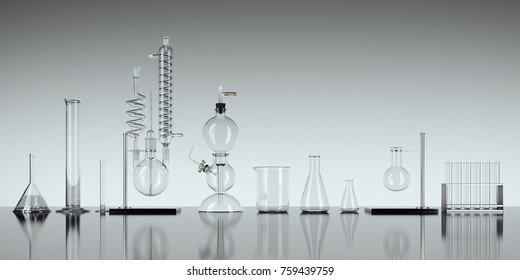 Glass chemistry lab equipment on white background. Chemistry Lab concept. 3d rendering