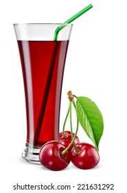 Glass of cherry juice with berries isolated on white.