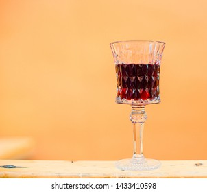 Glass glass of cherry liqueur. The business card of the city of Lviv is cherry liqueur.
