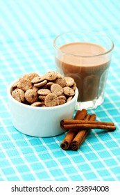 glass of chocolate milk and cerals - food and drink