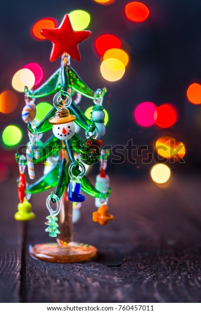 Glass Christmas Tree Toy On Blurred Stock Photo (Edit Now