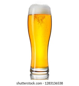 Glass of classic lager beer isolated on white background.