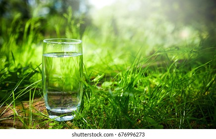 A glass of clean water, on the nature. Concept of a healthy lifestyle
