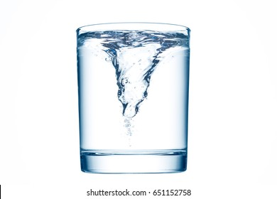A glass of clean water with whirlpool.