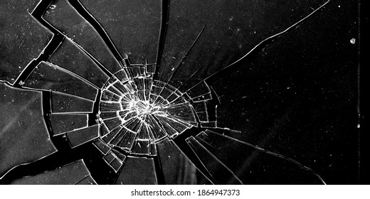 Сracked glass close-up on dark background. Texture of broken glass. Isolated realistic cracked glass effect. Template for design. Black and white illustration. 3D rendering