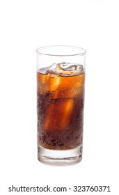 Glass of coca cola isolated on white background