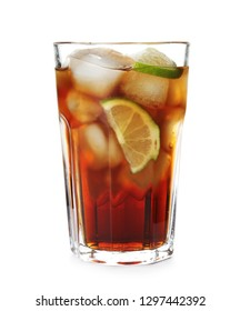 Glass of cocktail with cola, ice and cut lime on white background