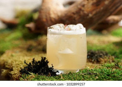 Glass of cocktail on moss, natural forest style drink