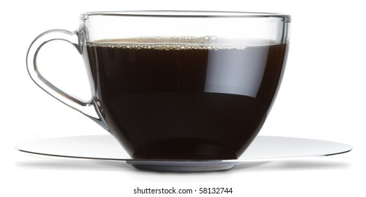 glass coffee cup with black coffee from the side on a white background