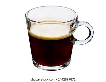 Glass coffee cup on white background