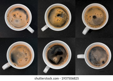 glass of coffee with milk. top view set