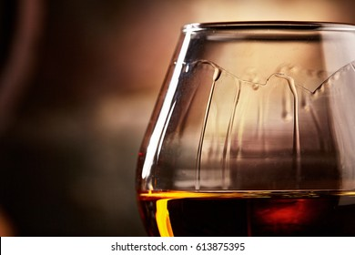 glass with cognac closeup