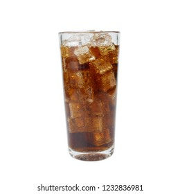 Glass of Cola Carbonated or Aerated Waters with ice cubes isolated on white background.drink and refreshment concept