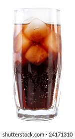 glass with cola and ice, clipping path