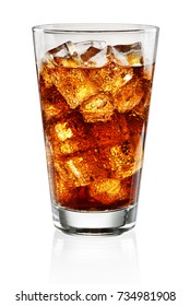 Glass of cola and ice cubes isolated on white background with clipping path