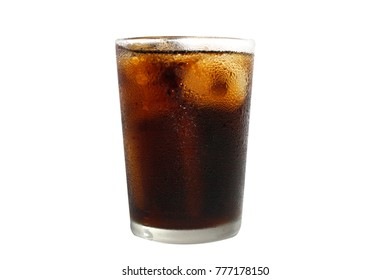 Glass of cola with ice cubes isolated on white background