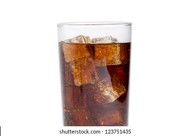 A glass of cola with ice cubes on a white background