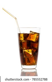 Glass of cola with ice cubes and straw isolated on white background