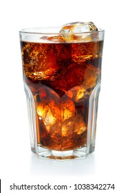 glass of cola with ice isolated on white background