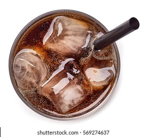 Glass of cola and ice isolated on white background. From top view