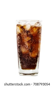 A glass of cola with ice isolated on white background with clipping path.