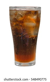 Glass of cola with ice with a white background.
