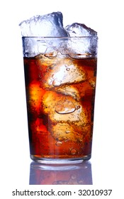 Glass with cola isolated on white