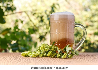 A glass of cold beer with hops outdoors.