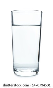 Glass of cold clear water on white background. Refreshing drink