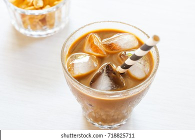 glass of cold iced coffee.