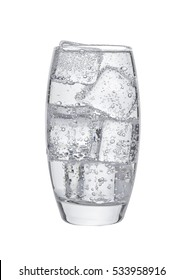 Glass of cold sparkling water with ice cubes  on white background