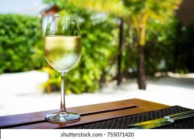 Vidrio con vino blanco frío sobre mesa de madera sobre fondo tropical