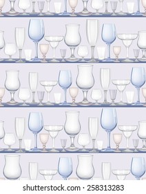 Glass collection. Bar different drinks seamless background. Party pattern.