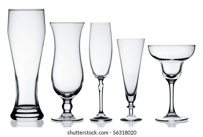 Glass collection isolated on white background