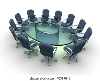 Glass conference table with business chairs - 3d render