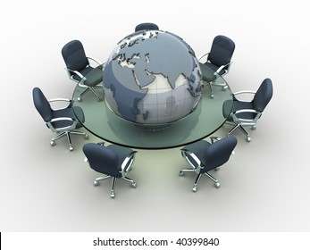 Glass conference table with Earth globe in middle - 3d render