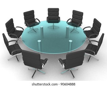 Glass conference table with - this is a 3d render illustration