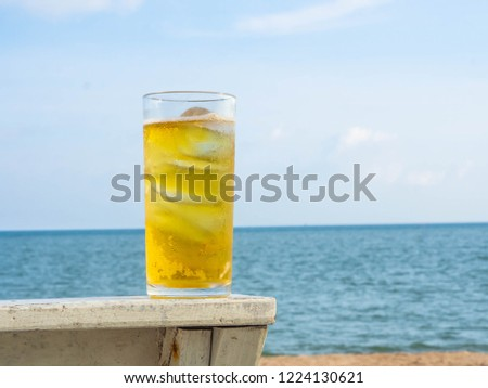 glass cool beer on beach clear stock photo edit now 1224130621