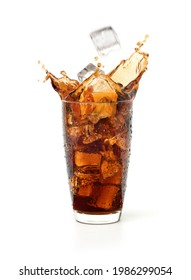Glass of cool cola splash with ice falling isolated on white background.