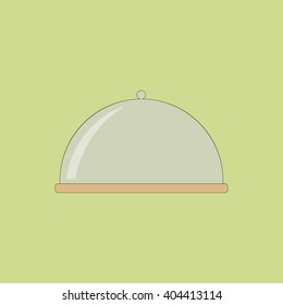 Glass Covered Cake Dish on the green background. illustration