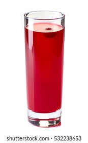 Glass of cranberry fruit drink on white
