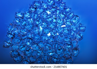glass crystals on the blue background
